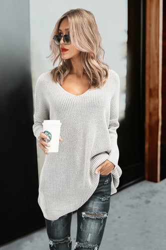 Casual Chic Loose Plain Long Sleeve Sweater Shift Dress