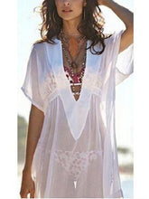 Load image into Gallery viewer, Bohemia Sexy V Collar Transparent Beach Sun Protection Shirt