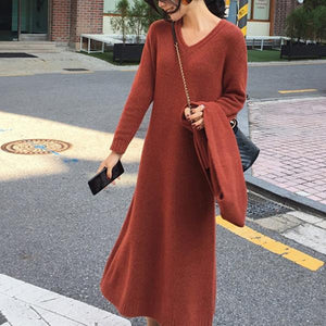Casual V Neck Pure Colour Loose Knitted Dresses