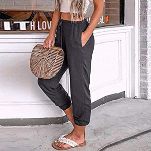 Elastic Waist  Plain Pants