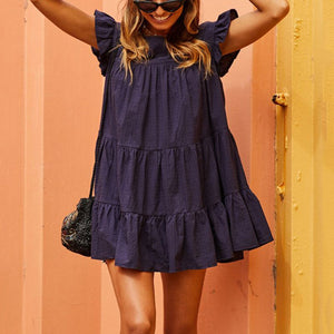 Fashion Solid Color Round Neck Casual Dress