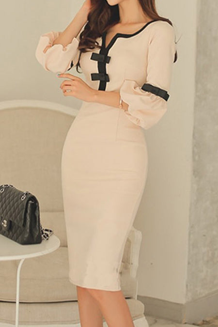 Solid Color Bag Hip V-Neck Midi Dress