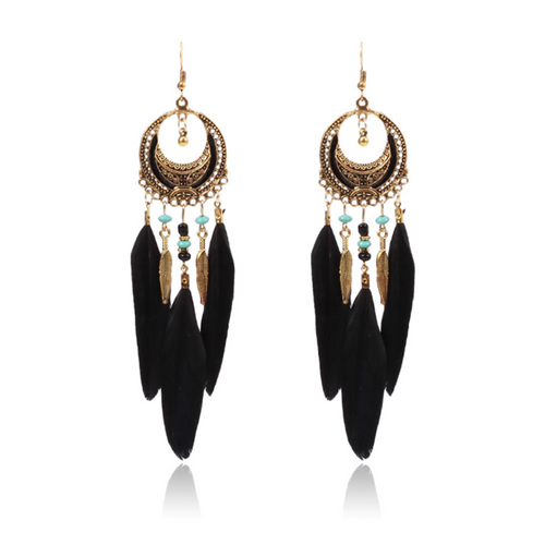 Bohemian retro long feather earrings