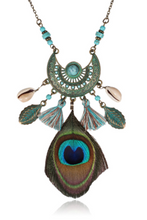 Load image into Gallery viewer, Peacock Feather Vintage Tassel Necklace