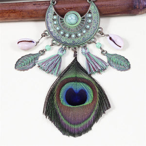 Peacock Feather Vintage Tassel Necklace