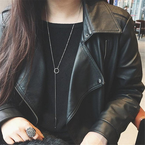 Multi-layer long circle sweater chain tassel necklace