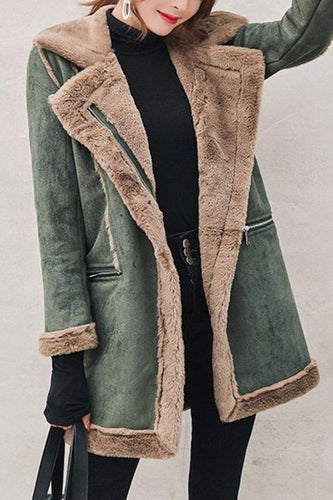 Fashion Casual Lapel Thicken Warm Medium Length Color Block Cotton Coat