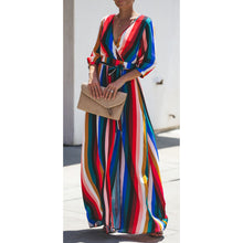 Load image into Gallery viewer, Best Selling European And American Women's Sexy Striped Color V-Neck Long-Sleeved Back Hollow Sexy Dress