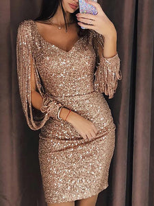 Sexy Deep V Long Sleeve Slim Sequin Evening Dress