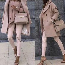 Load image into Gallery viewer, Sweet Plain Pink Loose Woolen Long Coat