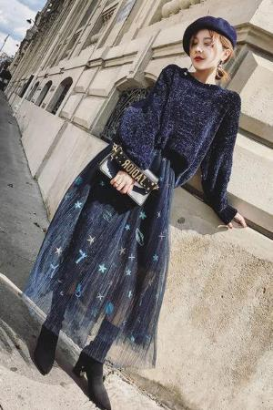 Fashion Pure Colour Sweater And Gauze Maxi Skirt Suit
