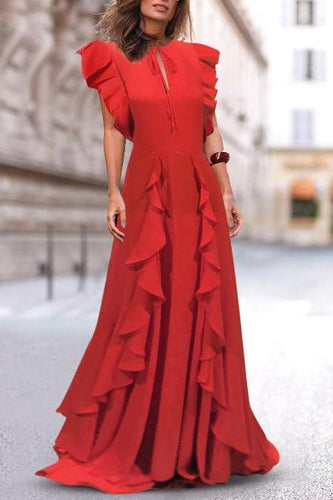 Sleeveless Tie Front Ruffle Maxi Dress