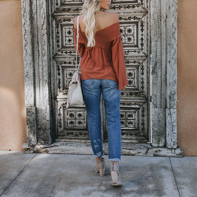 fb23769294d ... Load image into Gallery viewer, Elastic Off Shoulder Long Flare Sleeve  Plain Pleated Loose T ...