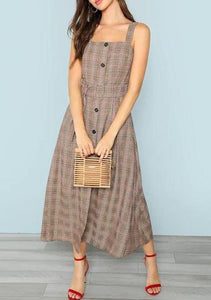 Waist Plaid Long Skirt Europe And America Explosion Style Panel Dress