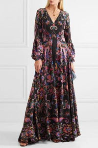 Flash Sale Elegant V-Neck Long-Sleeve Floral Print Maxi Dress