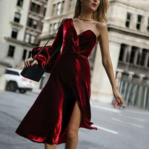 Sexy Fashion Single   Shoulder Pure Color Bubble Sleeve Dress