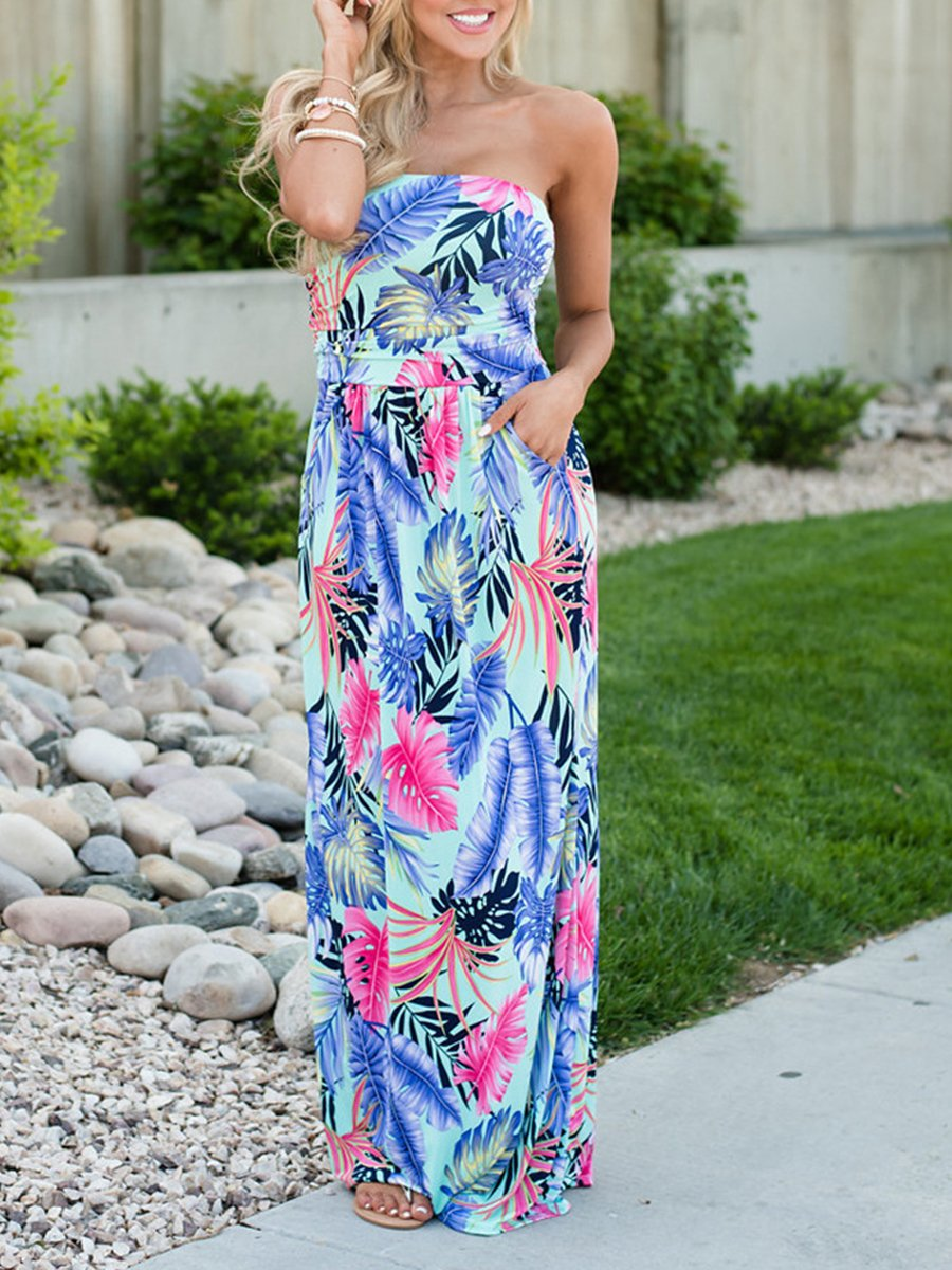 Strapless Floral Printed Maxi Dress Urelovely