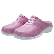 Load image into Gallery viewer, Slip on garden clog with a strawberry pink denim design and laces