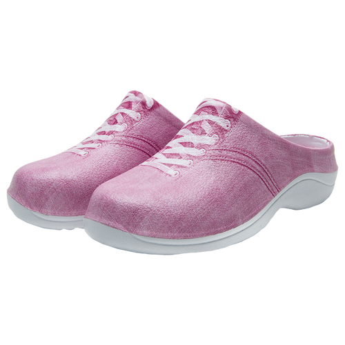 Slip on garden clog with a strawberry pink denim design and laces