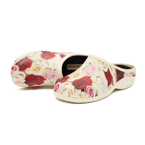 Red and Cream Mixed Roses Garden Clogs Backdoorshoes®