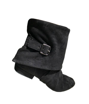 Aurora dance boot black right side folded down with movement