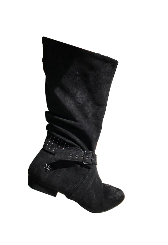 Aurora dance boot black right side folded up with movement