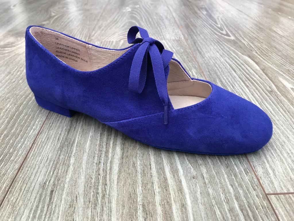 Blue suede dancing jazz shoe