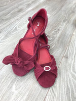 Burgundy suede convertible adjustable dance sandals