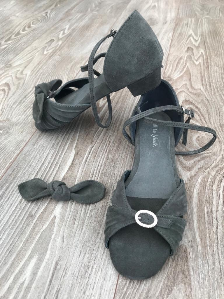 Grey Suede 1inch convertible adjustable dance sandals