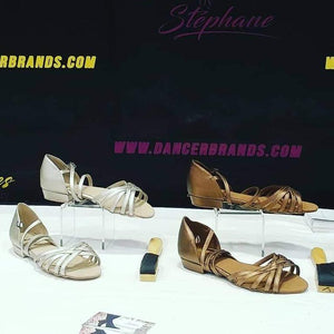 dance sandals low heel silver and bronze