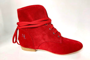 Ella lace-up dance shoes Red, side