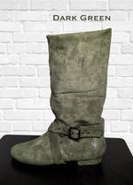 Aurora dance boot green left side folded up