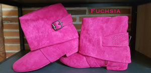 Aurora dance boots fuchsia pair folded down