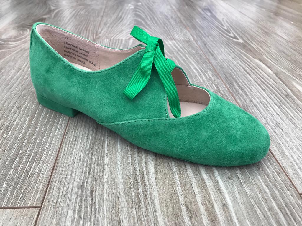 Green suede dancing jazz shoes