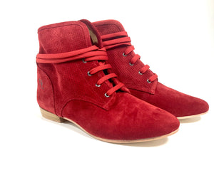 Ella lace up dance shoes, red pair