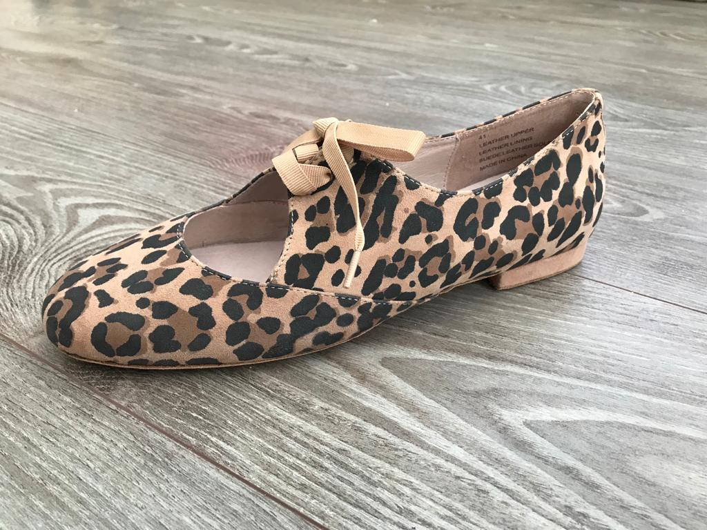 Leopard suede dance jazz shoes