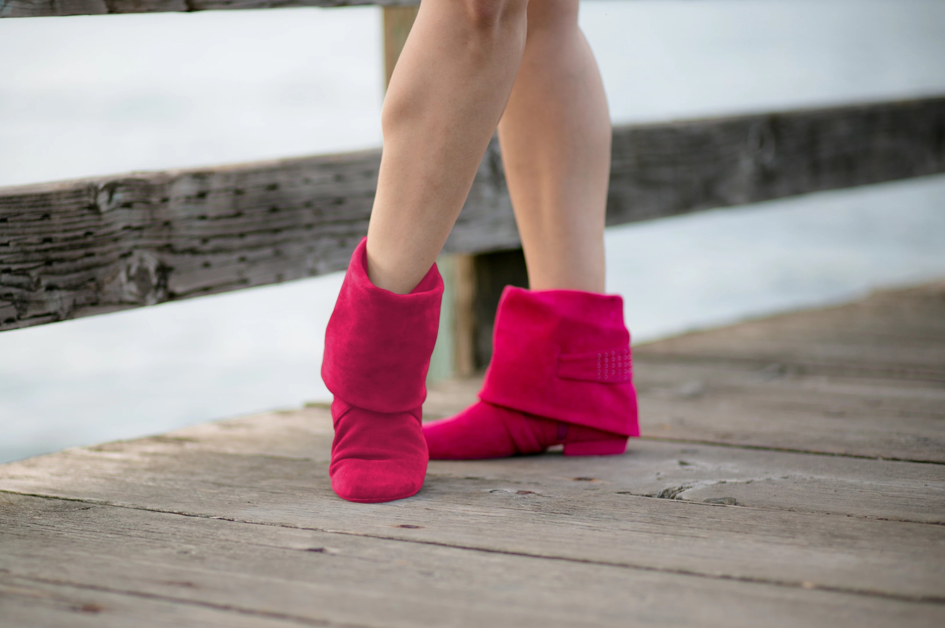 Aurora dance boots fuchsia pair folded down side and front