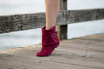 Aurora dance boots burgundy left folded down