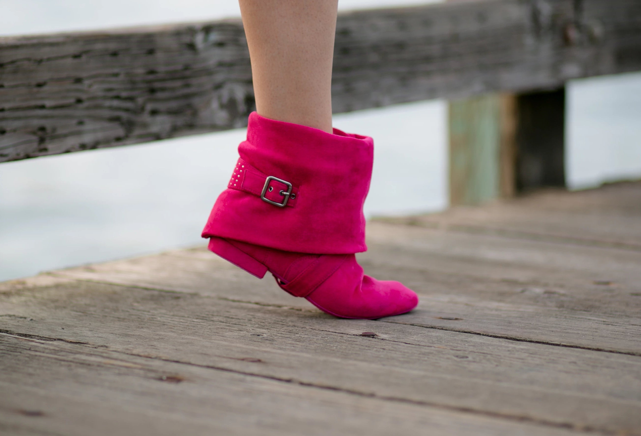 Aurora dance boots fuchsia folded down right side