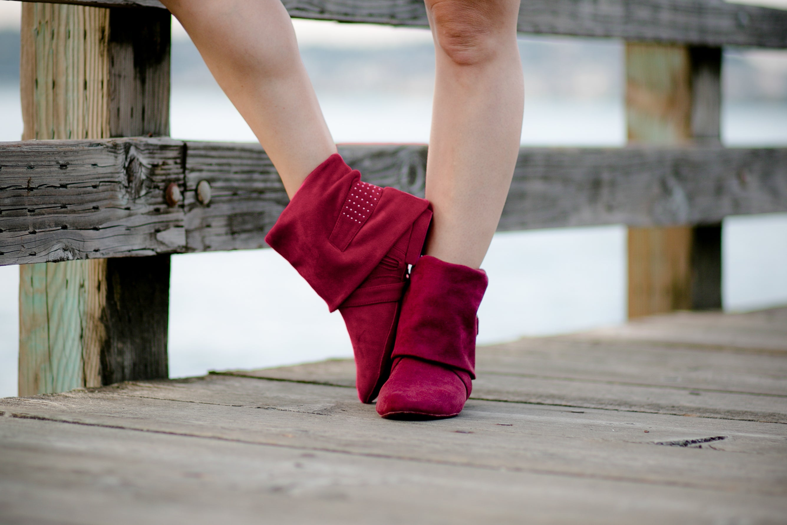 Aurora dance boots burgundy pair folded down