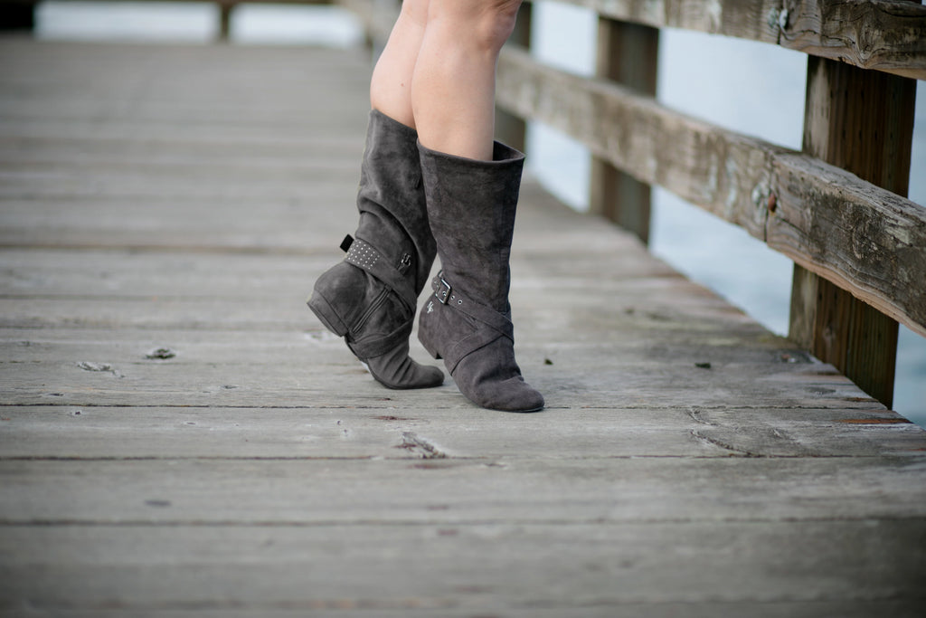 Aurora dance boots dark grey charcoal pair folded up in action