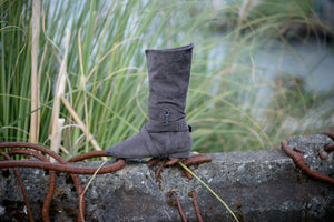 Aurora dance boots charcoal grey folded up inside zipper and strap