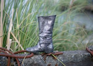Aurora dance boots silver metallic folded up inside angle with zipper and strap