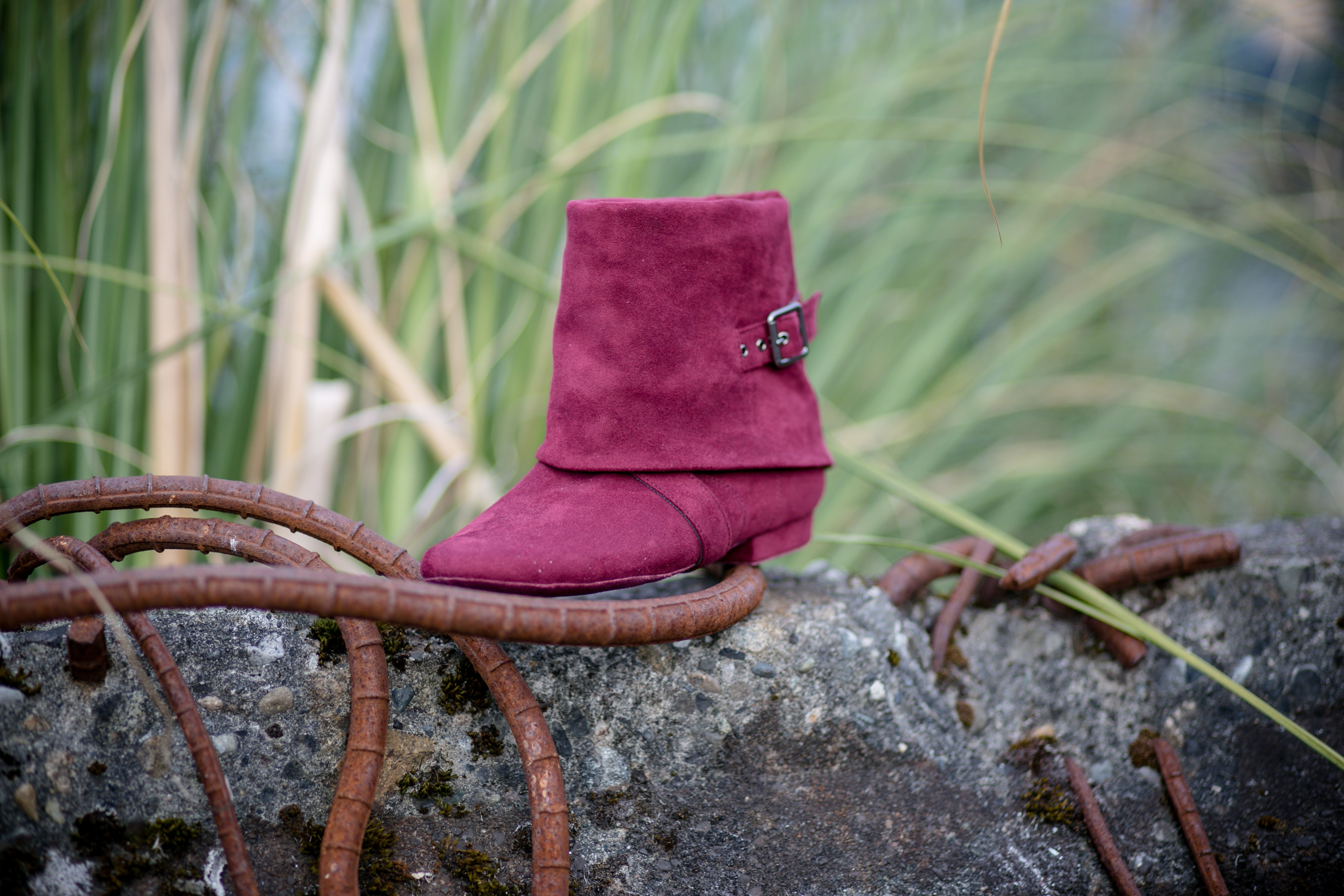 Aurora dance boots burgundy fold down left front angle