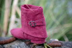 Aurora dance boots burgundy fold down left back angle with buckle and studs