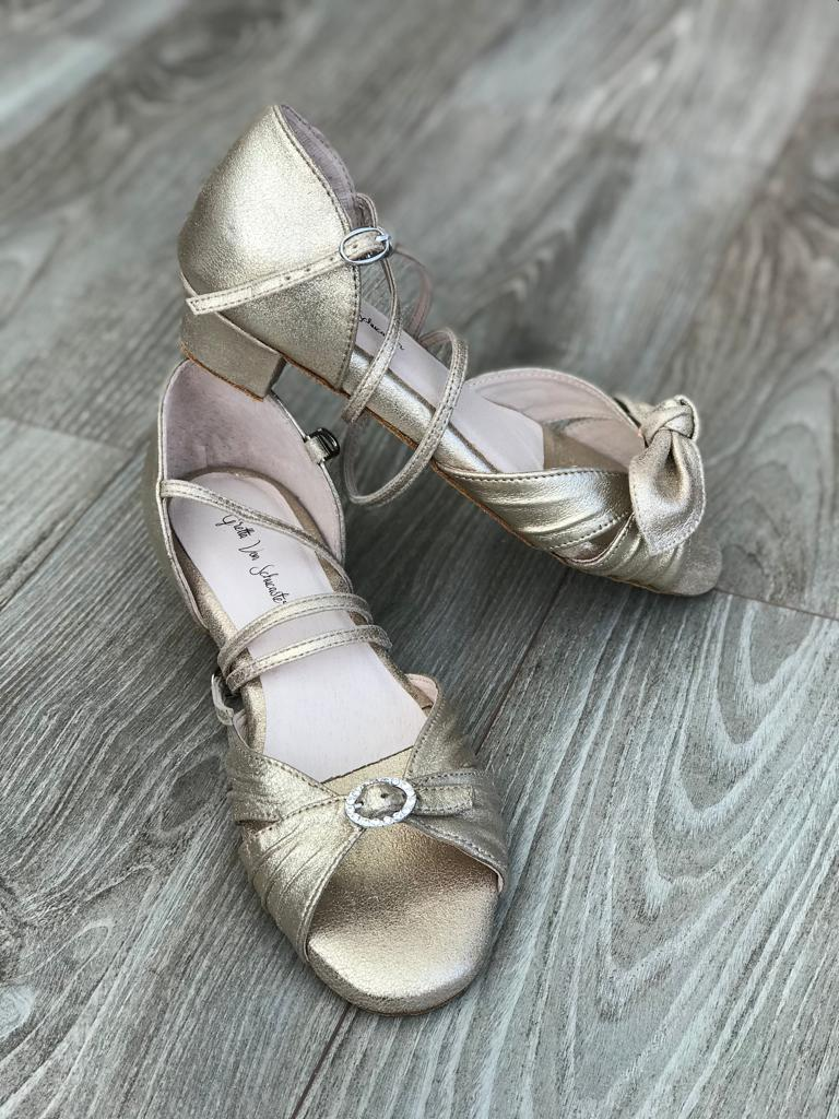 Metallic leather convertible dance sandals