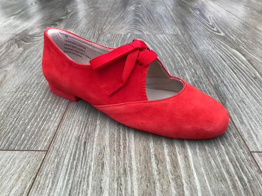 Red suede dance jazz shoes