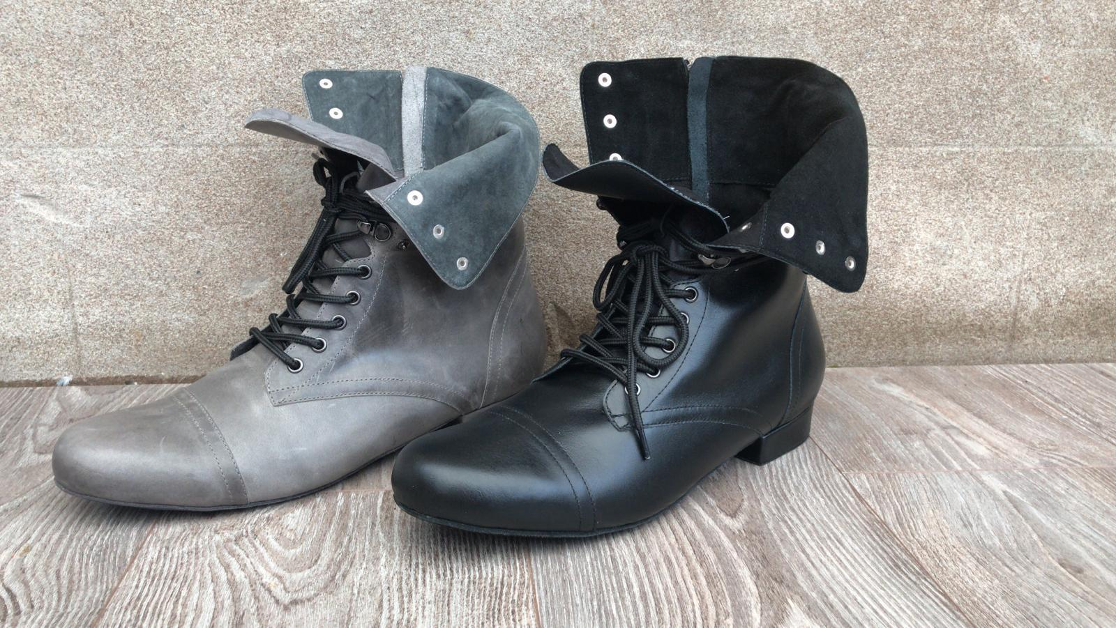 Combat Boots Distressed Grey and Black folded down side by side