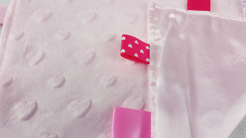 Pink Flannel Comforter With Hearts & Satin Back - Baby Styles