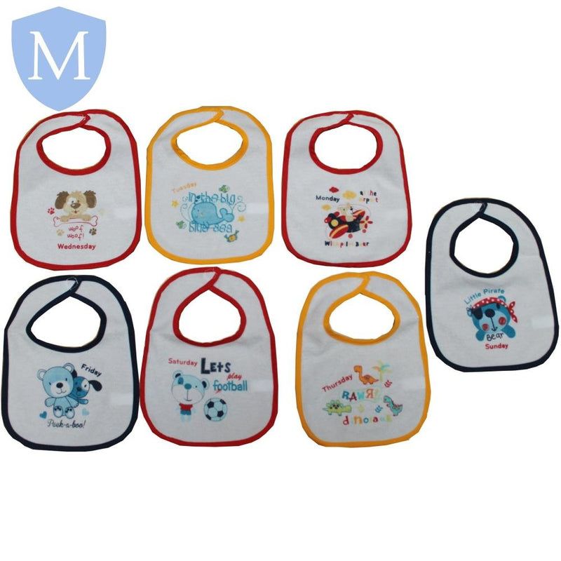 Baby 7-Pack Assorted Style Weekly Velcro Bibs (Mixed) - Baby Styles